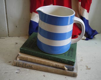 Vintage Blue and White Stripped Cream Jug
