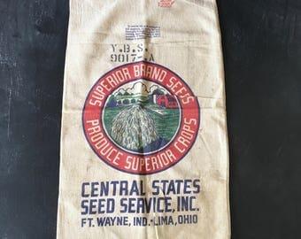 Vintage Fulton grain sack~country advertising~Farm Scene design~muslin~primitive rustic farmhouse decor ~from MilkweedVintageHome