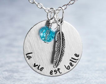 La Vie Est Belle Necklace, Life Is Beautiful, Jewelry, Inspirational Necklace, Mantra Jewelry, Motivational