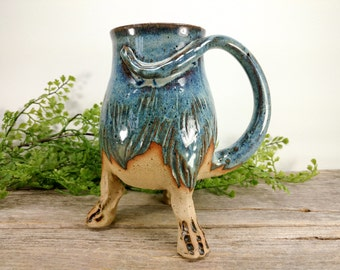 Troll / Monster Creature Cup 20 oz - Earthy Blue - Wheel Thrown and Hand Carved Coffee Mug