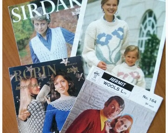 Crochet Patterns, Knitting Patterns, Vintage Patterns: 4 Leaflets, Crochet Shawl Pattern, Knit Sweater Patterns, Apan Knitting Patterns