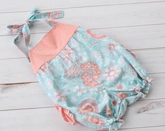 Baby Girl Romper - Romper - Halter Romper - Romper with Ruffles - Baby Outfit - Ruffle Romper - Toddler Romper - Toddler Outfit - Sunsuit