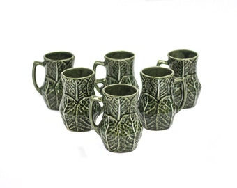 Set 6 Pottery Jugs Portuguese Style Bordallo Pinheiro.