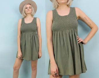 90s Sage Green Mini Dress, Smocked Top, Size Small to Extra Small, XS, Babydoll, Cotton Dress, Summer, Minimalist, Olive, Pastel
