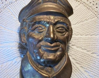 Solid Brass Ships Captain Door Knocker by Penco 1970s Vintage Nautical Collectable