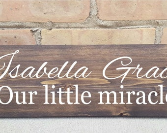 Personalized - Our little miracle, nursery, home decor,