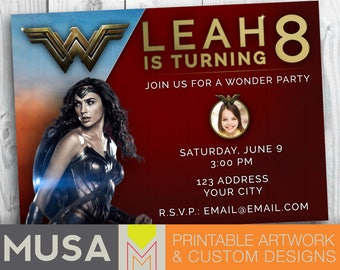 Wonder Woman inspired |  Personalized Digital Invitation with photo