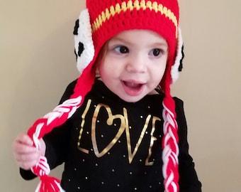 Crochet Paw Patrol Marshall inspired hat