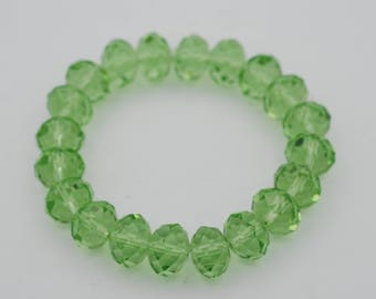 12mm Faceted Rondelle Glass beads on elastic, 7.5 inch long