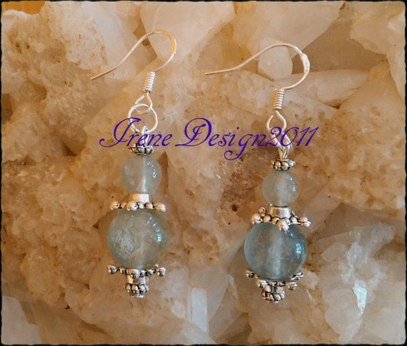 Handmade Silver Earrings with Blue Fluorite by IreneDesign2011