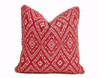 Red Pillow-Robert Allen Red and White Ikat Pillow Cover-Red and White Ikat Pillow- Modern Red Pillows