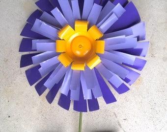 Recycled Metal Flower Garden Purple, Mum, Aluminum, Yard Art, Lawn Stake