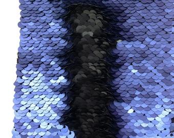 High Quality!!1 Yard 2-Tone Matt Blue change Matt Black On Spandex Stretch Mermaid Sequin Fabric,5mm Can Flip Reversible Sequin Fabric,
