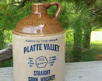 Stoneware McCormick Platte Valley Corn Whiskey Jug Weston, Missouri