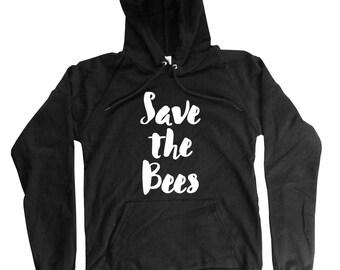 Save the Bees Hoodie  - Bees Hoodie - Organic Cotton Hoodie -  Mens - Unisex - Bee Hoodie - S M L XL 2XL