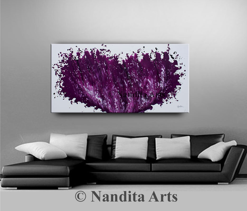 Purple Abstract Decorative Wall Art large artwork fuchsia