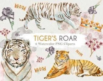 Tiger Clipart Watercolor Safari Wildlife Animal Jungle Baby Tiger Zoo Circus Lion Elephant Digital Download Invitation Paint Planner