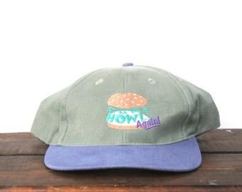 Vintage 90's It'll Be A Howl Again! Burger Sandwich Bun Strapback Hat Baseball Cap