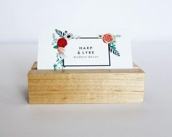 White Oak Business Card Holder - Business Cards - Wooden Business Card Holder - Desk Accessory