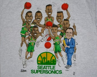 90s Seattle Supersonics T Shirt NBA basketball team tee caricature Double Dribble Shawn Kemp Gary Payton players sports
