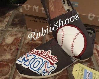 RubiiShoos- Baseball Mom-ASH TOMS-Baseball- baseball lovers- womens shoes- Mom toms- Custom Toms- Painted Shoes-slip on shoes