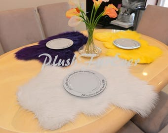 15 Dollar Off Fur PLACEMATS Plush Faux Fur Table Mats Wedding Gifts House Warming Party Dining Plate Mats Wedding Reception Decor