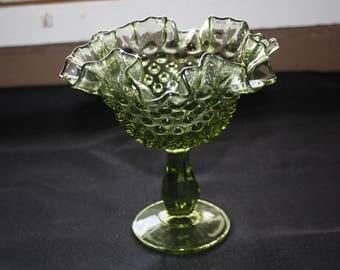 Old Fenton Glass Co. Dark Green Compote