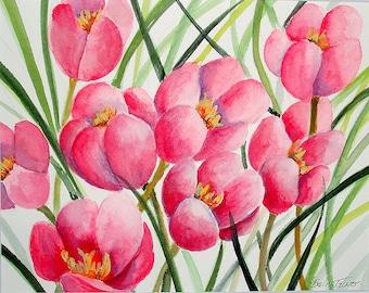 PINK FLOWERS - Original Watercolor