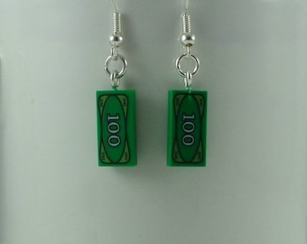 SALE - Hundred dollar bill earrings made from real Lego bricks, Money jewellery, Holiday money, Quirky gift for a bank clerk, Coin collector