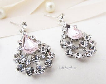 Pink Crystal Earrings, Pink Wedding Earrings, Long Pale Pink and Silver Earrings, Pink Earrings for Wedding, Sparkly Pink Earrings