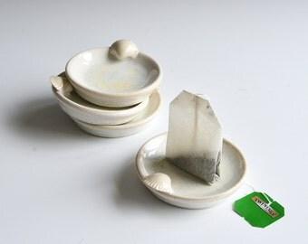 Teabag dishes in porcelain/set of 4