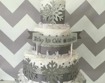 Baby It's Cold Outside Diaper Cake in Gray, White and Silver, Winter Theme Baby Shower Centerpiece, Snowflake Decorations