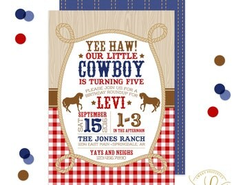 Western Invitation | Western Party | Cowboy Invitation | Cowboy Party | Horse Invitation | Horse Party | Our Little Cowboy | Red Gingham