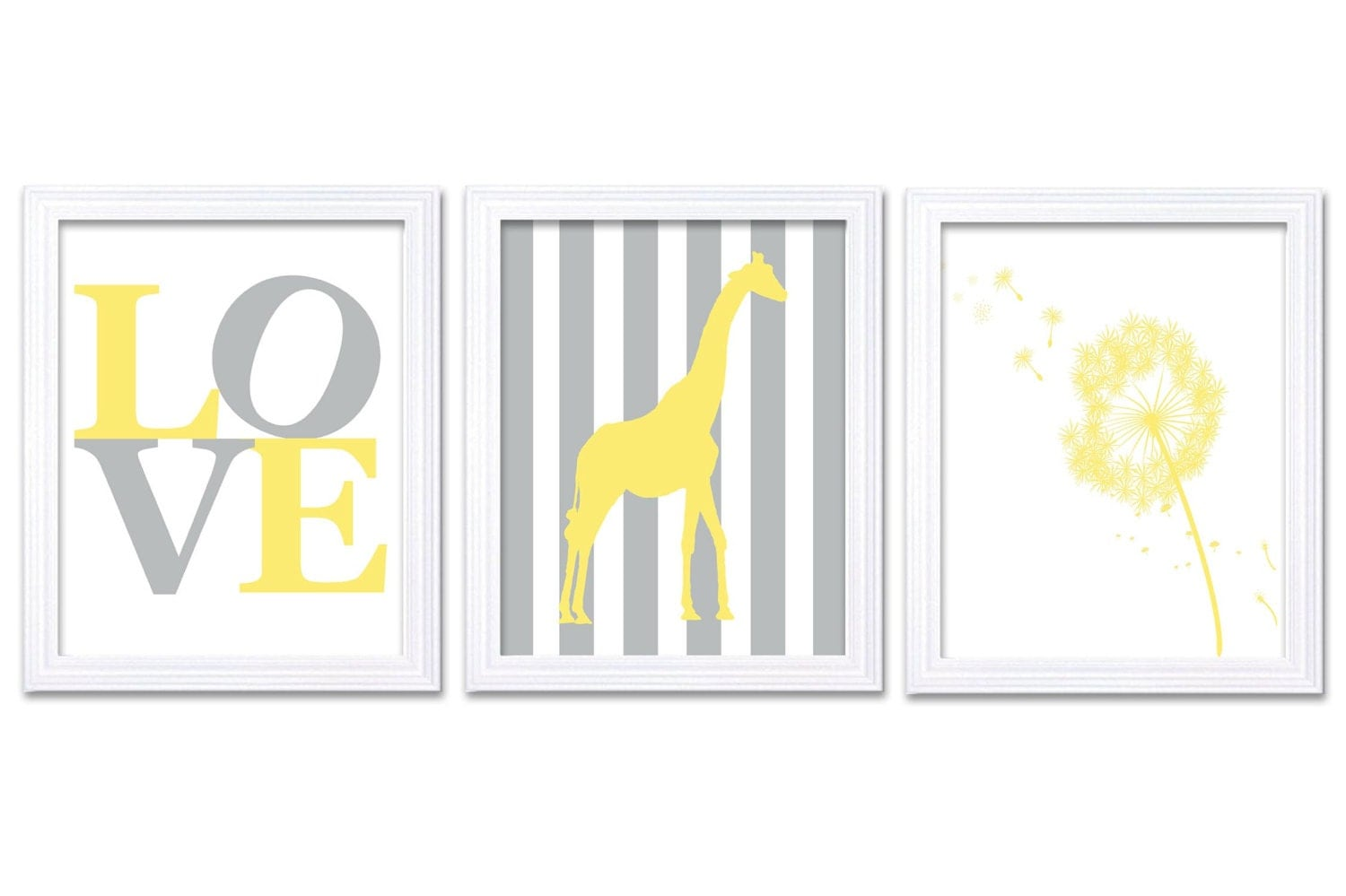 Giraffe Dandilion LOVE Nursery Art Nursery Print Set of 3 Stripes Yellow Grey Gray Child Art Kid Roo