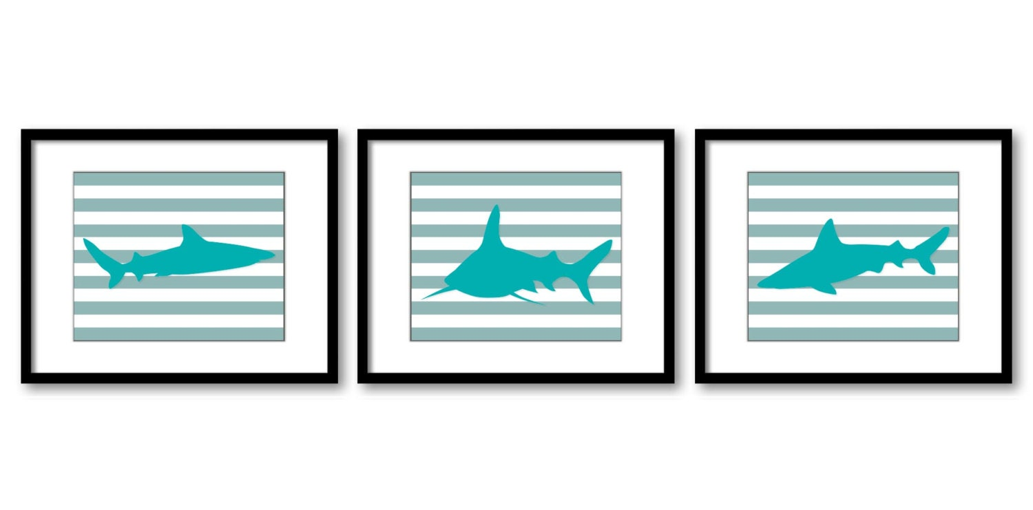 Blue Turquoise Shark Animal Art Prints Set of 3 Grey Gray Stripes Sharks Boys Art Nursery Art Print