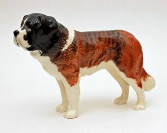 Vintage Beswick Dog Figurine, Saint Bernard Dog, St Bernard Beswick Porcelain Puppy Figurine, Man's Best Friend, English Porcelain England