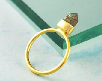 Gold Ring, Gemstone Ring, Labradorite Ring, Unique Ring, Statement Ring, Edgy Jewelry, Sterling Silver, Geometric Ring, Signet Ring, Gifts