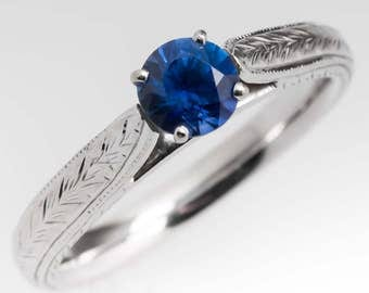 Sapphire Engagement Ring -  1/2 Carat Blue Sapphire Solitaire - 14K White Gold Wheat Etchings - Engagement Ring - WMS12033