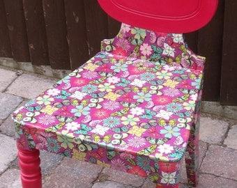 Decoupaged wooden chair.
