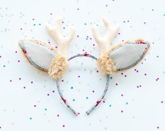 Woodland headband with deer ears and horns, Children Babies Photo Prop, grey and brown