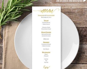 Printable Menu, Editable Wedding Gold and White Menu, Menu template, Instant download self editable PDF ML118