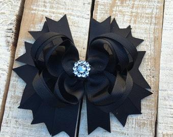 Black Boutique Bow - Black Hair Bow