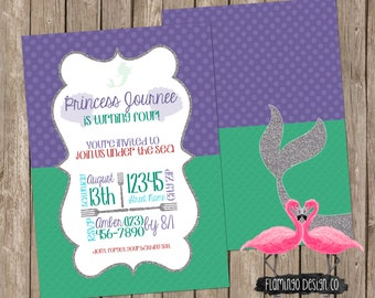 Little Mermaid Inspired Birthday Invitation (digital & card stock)