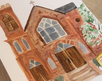 Custom  Watercolor Painting: Church or Building