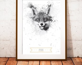 Fox  - limited edition print 210 x 297 mm, numbered and signed