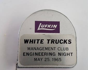 Vintage advertising Lufkin mid 1960's White Clad 6 ft pocket measuring tape, White Trucks Management Club Engineering Night May 25 1965
