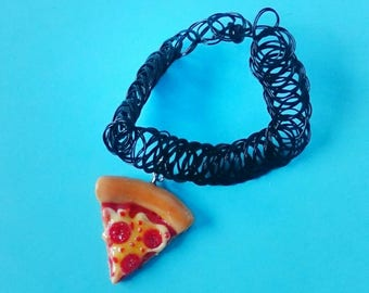 Pizza Tattoo Choker, Food Jewelry, Pizza Necklace, 90s Choker, Pizza Jewelry, Pepperoni Pizza Slice Charm