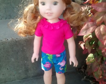 Handmade Doll Clothes. 14.5 inch  spring Easter outfit for dolls such as Wellie wisher . Pink  Flamingo Summer doll shorts