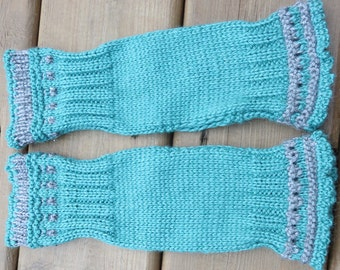 Fingerless Gloves, Blue Mint Arm Warmers, Texting Gloves, Cycling Gloves, Driving Gloves. Bamboo Wool. READY to SHIP!