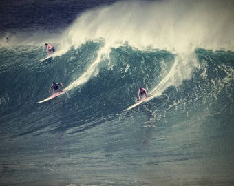 Surfing Photography Vintage Waimea Bay Hawaii Big Wave Surf Photo